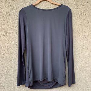 Theory draped back silk blouse long sleeve grey M
